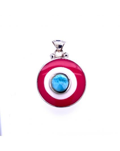 Dragon Larimar Pink and White Resin Pendant