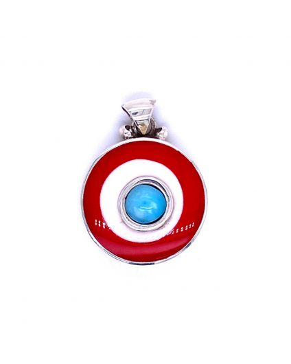 Dragon Larimar Red and White Resin Pendant
