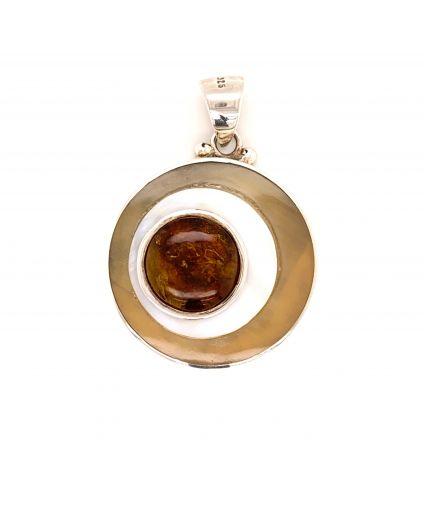 Luz Amber Mother of Pearl and Horn Pendant