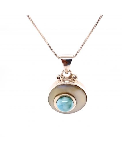 Luz Mini Larimar and Mother of Pearl Necklace