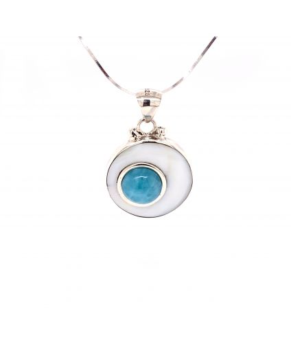 Luz Small Larimar and Mother of Pearl Necklace