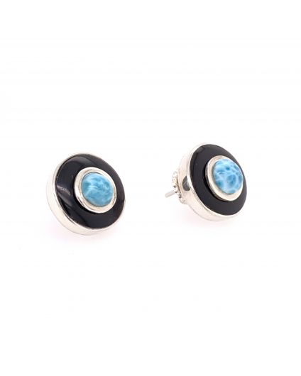 Luz Mini Larimar and Horn Earrings