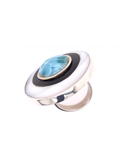 Luz Larimar Horn and Mother of Pearl Ring
