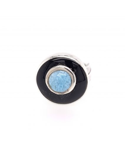 Luz Larimar and Horn Mini Ring