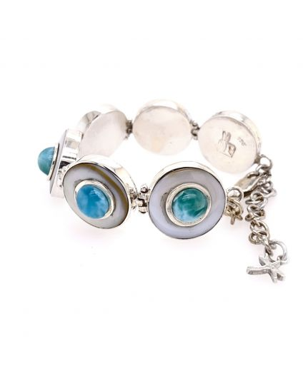 Luz Mini Larimar and Mother of Pearl Bracelet