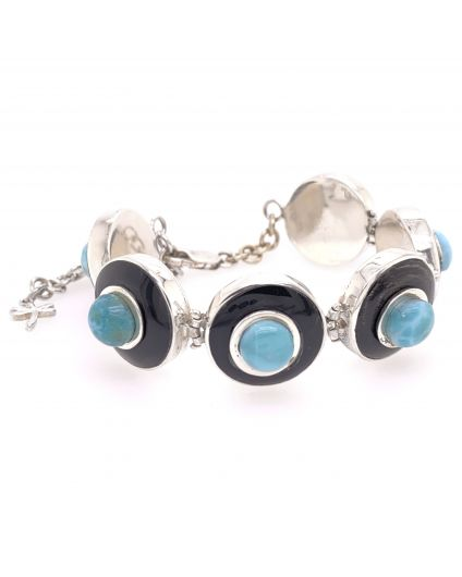 Luz Mini Larimar and Horn Bracelet