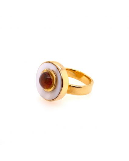 Luz Mini Amber and Mother of Pearl Ring