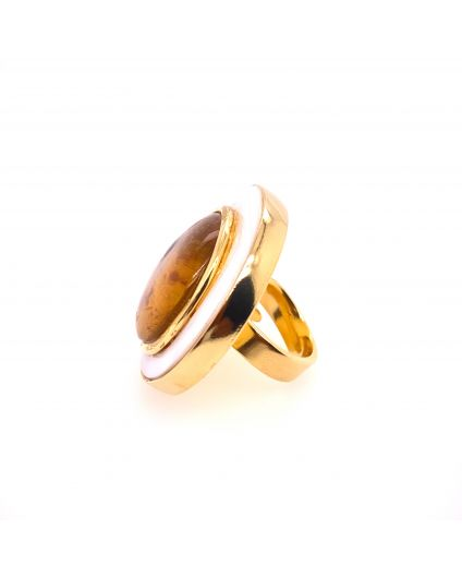 Luz Amber and Mother of Pearl Ring