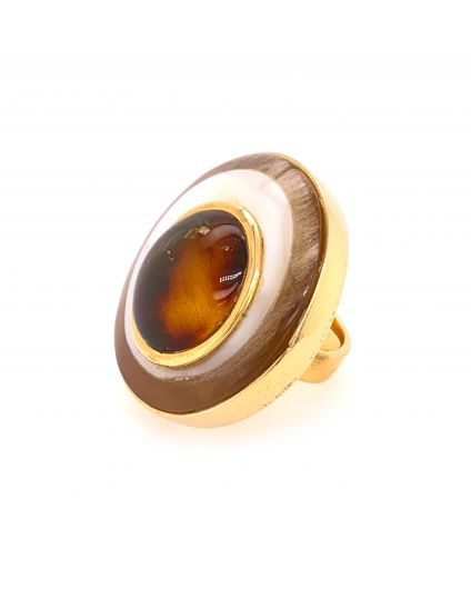 Luz Amber and Horn Medium Ring