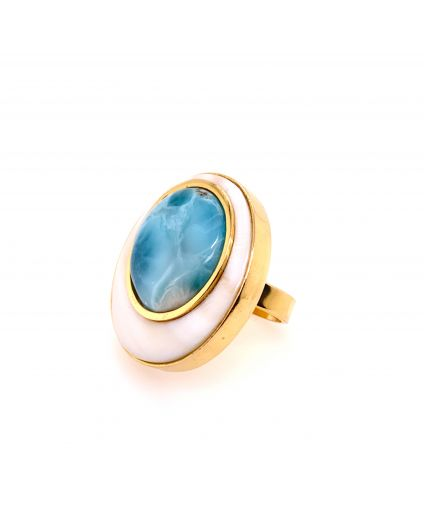 Luz Larimar and Mother of Pearl Medium Ring