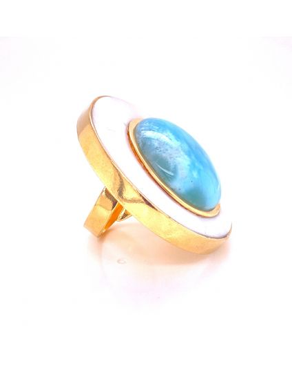 Luz Larimar and Mother of Pearl Large Ring