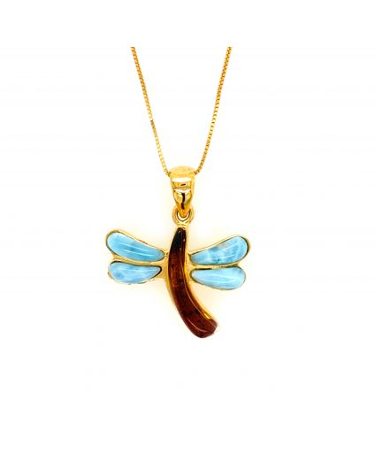 Medium Dragonfly Larimar and Amber Necklace