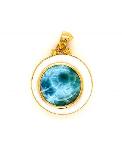 Luz Larimar and Mother of Pearl Medium Pendant