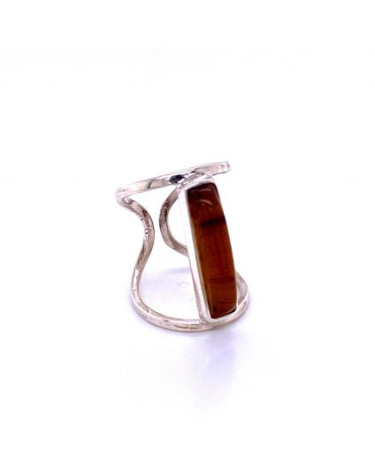 Recto Amber Silver Ring