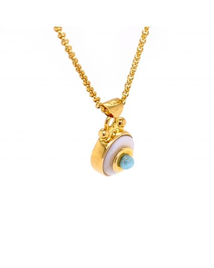 Baby Luz Larimar and Mother of Pearl Necklace
