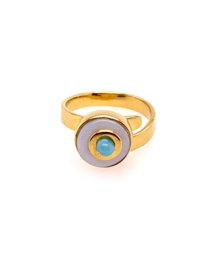 Baby Luz Larimar and Mother of Pearl Ring