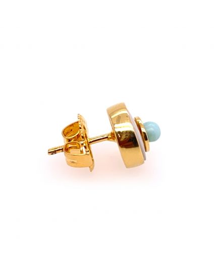 Baby Luz Larimar and Mother of Pearl Earrings