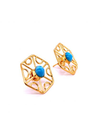 Auto Larimar Dorato Hex  Earrings