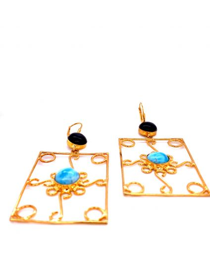 Auto Dorato Larimar and Horn Earrings