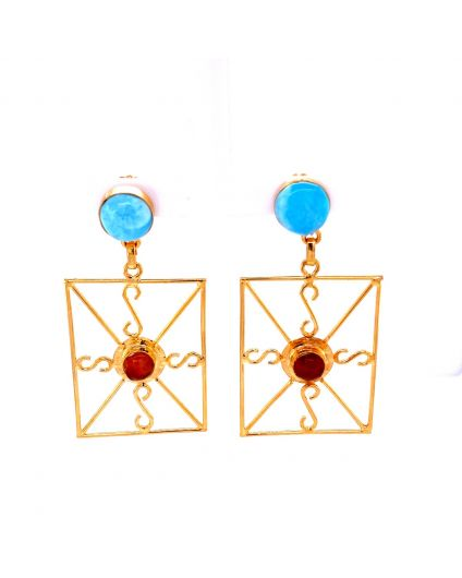 Auto Dorato Larimar and Amber Earrings