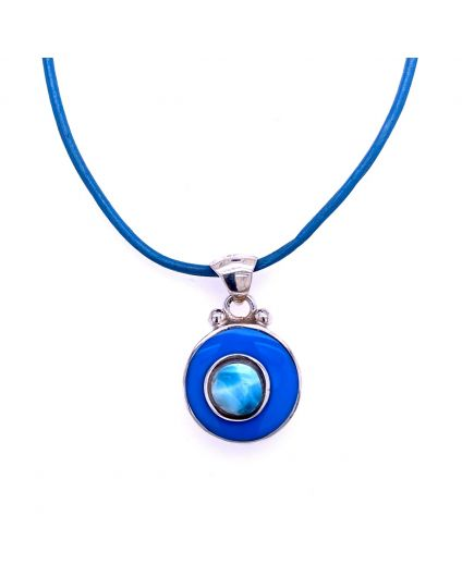 Dragon Blue Leather Necklace