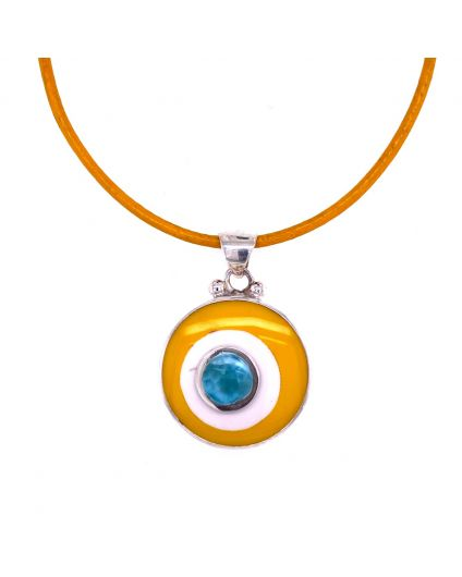 Dragon Yellow Leather Necklace