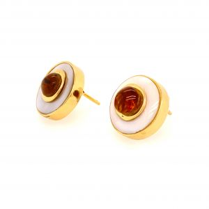 Luz Mini Amber and Mother of Pearl Earrings